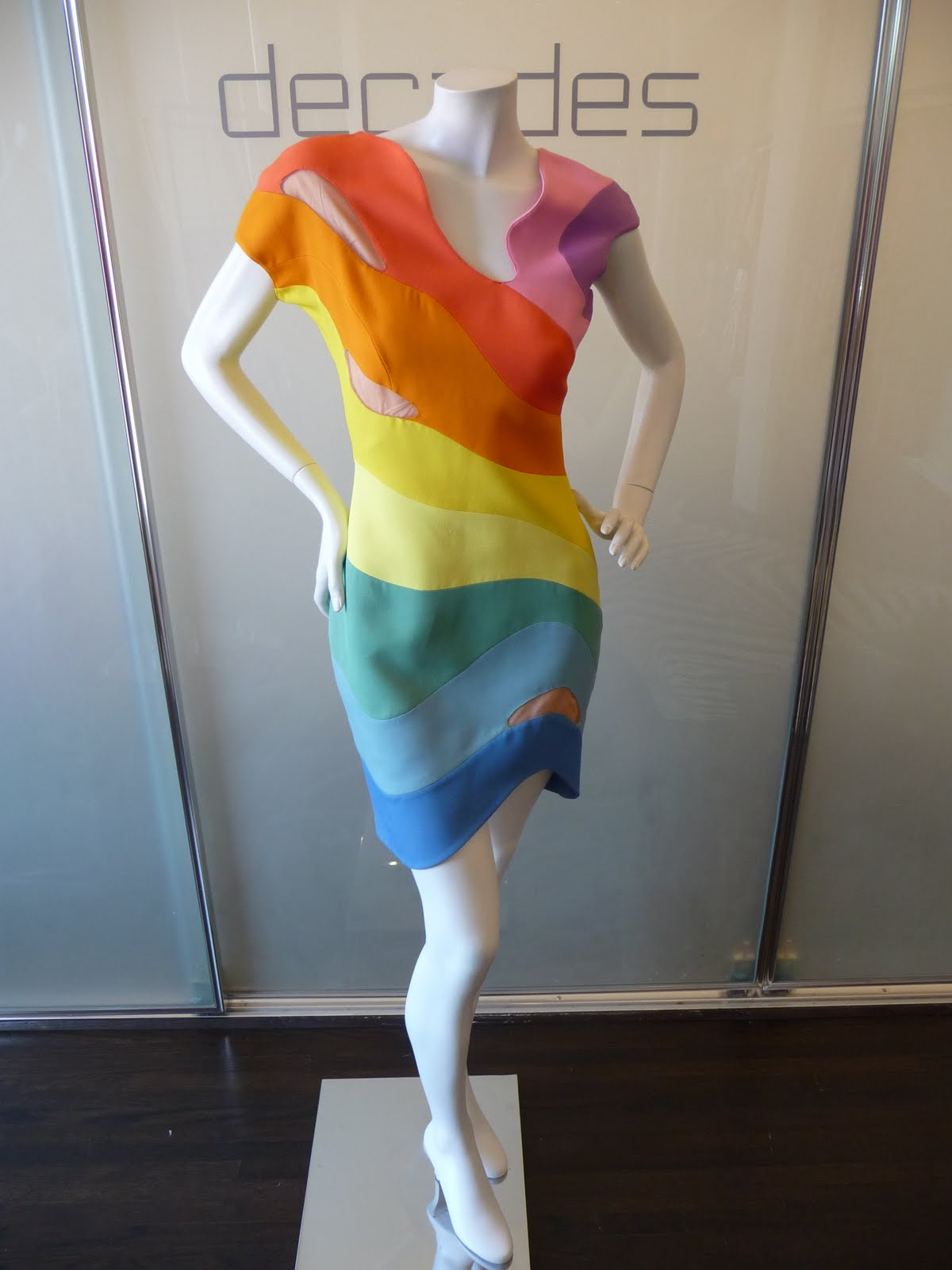 thierry mugler rainbow dress